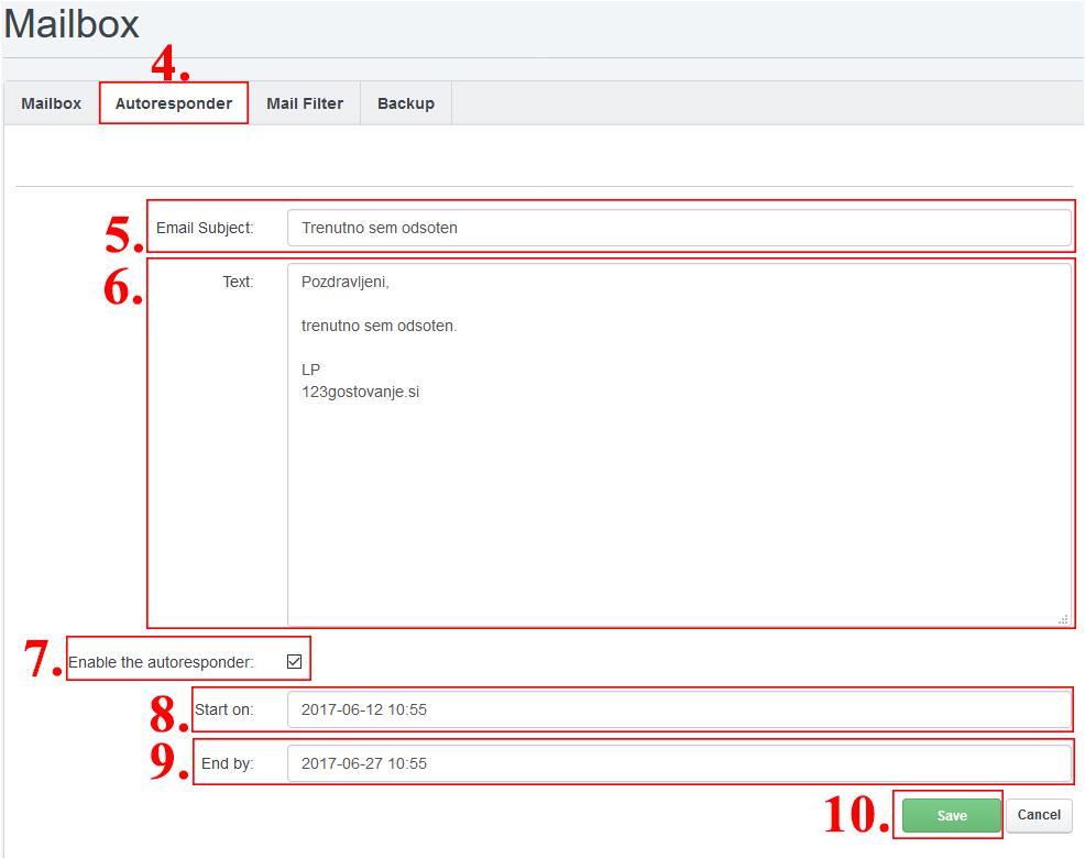 nastavitev avtomatskega odzivnika client
