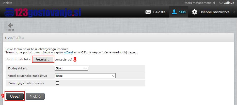 Izvoz stikov ig Gmail in uvoz v spletno pošto.